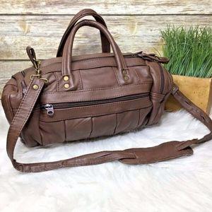 Vintage Brown Leather Crossbody Duffel Travel Bag